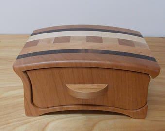Small Jewelry Box, Bandsaw Keepsake Cherry, Walnut and Maple Jewelry Box 1 Drawer, Ring Box, Key Box, Cellphone Holder