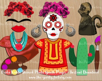 Frida Kahlo Inspired Photo Booth Props Instant Downloads