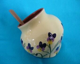 Salt pig Salt cellar Salt pot with spoon Salt piglet with wooden spoon Viola salt pot