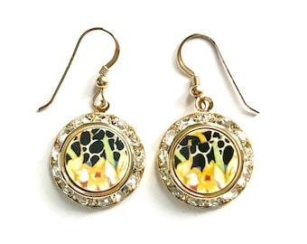 March Birthday Flower, March Gift, Daffodil Earrings, China Jewelry Earrings Hazel Royal Winton Chintz China Earrings Birthday Gift for Wife