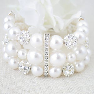 Statement rhinestone cuff bracelet, Glamorous multi strand pearl bridal cuff, Swarovski wedding bracelet, Mother of Bride jewelry