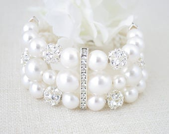 Statement rhinestone cuff bracelet, Glamorous multi strand pearl bridal cuff, Swarovski wedding bracelet, Mother of Bride jewelry