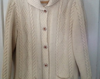 Sale Vintage 70's FISHERMAN CABLE Knit CARDIGAN Sweater Wool