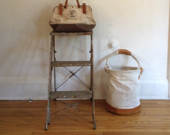 Vintage Industrial Metal Two Step Work Ladder