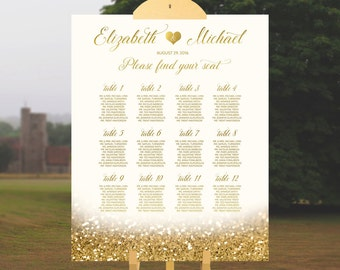 Wedding Seating Chart Wedding Table Plan White And Gold Wedding Sign Printable Wedding Table Chart Elegant Wedding Sign Guest List Glitter