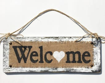 welcome sign hanging burlap WELCOME sign BURLAP white distressed burlap welcome sign burlap sign front door sign burlap sign sign sign sign