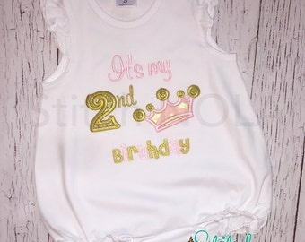 Crown Birthday Bubble, Tee, Gown, Romper, Bib, Bodysuit, Crown Birthday, Crown Applique Princess Birthday, Baby Girl Birthday, Girl Birthday