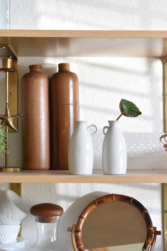 set of 2 white porecelain vase pitchers / propagation glassware