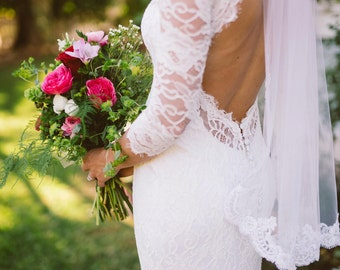 Keyhole Back Wedding Dress, Wedding Dress with Sleeves, Lace Wedding Dress, French Lace Wedding Dress