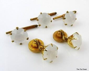 Antique Dress Set Cufflinks Shirt Studs Buttons White Plastic Stone