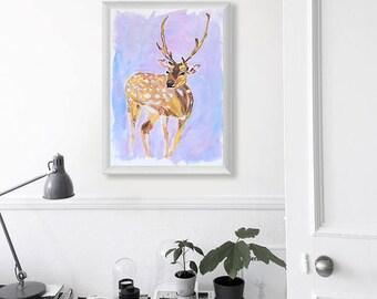 "Deer Sketch Art Acrylic Original // ""25×35 cm""  on Paper"