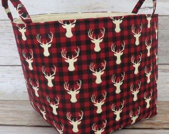 Fabric Organizer Bin Toy Storage Container Basket -  Cream Deer Buck Head - Red Black Buffalo Checks Plaid Fabric  - 10 in x 10 in x 10 in
