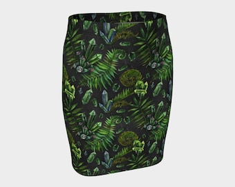 SALE - Emerald Green Crystal Fitted Skirt - Eco Poly