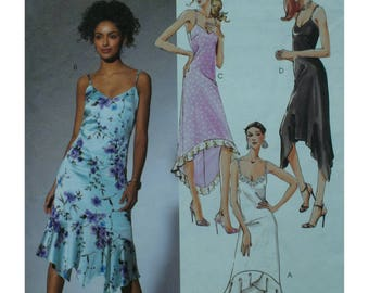 Slip Dress Pattern, Asymmetrical Hemline, Sleeveless, Shoestring Straps, Flowing, McCall No. 4445 UNCUT Size 4 6 8 10 OR Size 8 10 12 14
