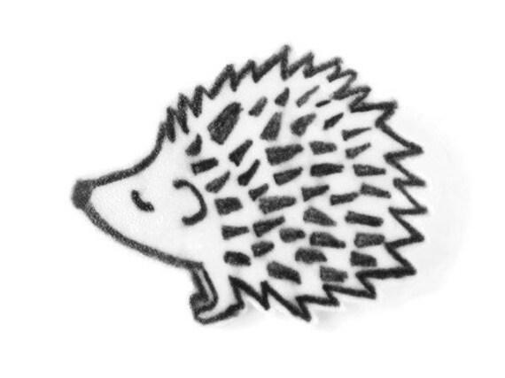 Line Drawing Hedgehog : Hedgehog art brooch pin hand drawn shrink plastic