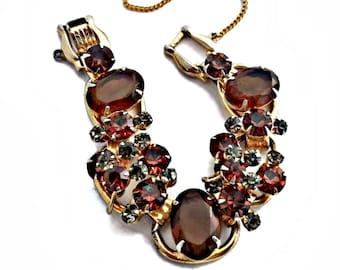 Juliana D&E Rhinestone Bracelet Topaz Brown Confirmed DeLizza and Elster Gold Tone 7 inches