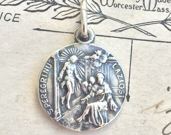 Small St Peregrine Medal - Patron of Cancer Patients - Antique Reproduction
