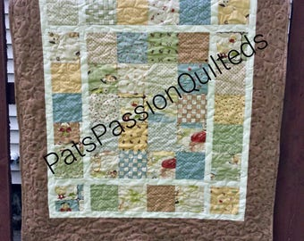 Li'l Rascals Baby Boy Quilt , Quilted Patchwork Baby Blanket , Quilted Wall Hanging , Little Rascals Crib Quilt