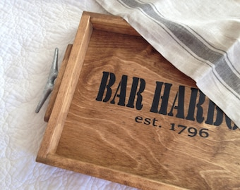 Personalized  Location Wooden Tray - personalized name tray, personalized wedding gift, lake house decor
