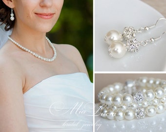Wedding Jewelry Set, Bridal Jewelry Pearl, Bridal Jewelry, Wedding Jewelry Pearl, Bridal Pearl Set, Bridal Jewlery Set art. e01-b13-n10