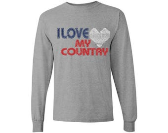 I Love My Country Long Sleeve Shirt T shirt Tops Independence Day Love USA Heart 4th of July Gift