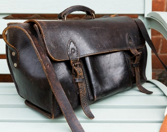 PRICE REDUCED ** Rare Vintage Black Leather Bag, Electricians Bag, 1950's, Vintage Leather, Metro Style, Vintage storage, Fathers Day