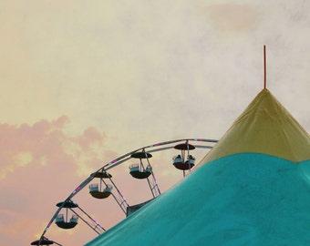 Circus Tent Photograph Ferris Wheel Carnival Midway Pink Yellow Blue Nursery Decor 8x8 Circus Photograph
