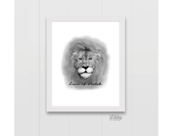 Lion of Judah Pencil Drawing Instant Download Wall Decor