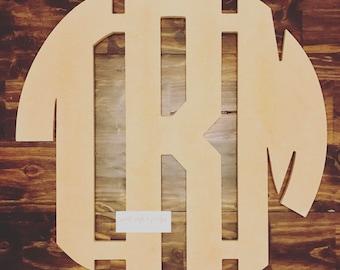 Wooden 3 Initial Boy Monogram
