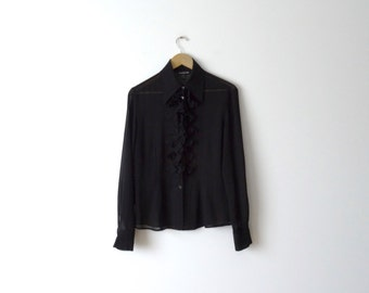 Women's Long Sleeve Black Transparent Button Down Blouse with Front Flower-Shaped Flounces  Size M
