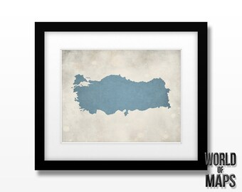 Turkey Map Print - Home Town Love - Personalized Art Print