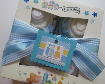 Baby Shower Gift Set Baby Boy Onesies Bodysuit, Bibs, Burp Cloths and Washcloth 8 Piece Cupcake Set