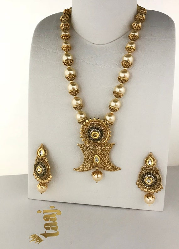 Megha Traditional gold and pearl Mala Necklace and earrings indian jewellery partywear prom