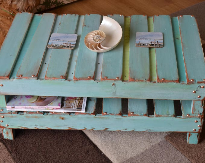 Bespoke Duck Egg Blue Country Cottage Rustic Reclaimed Wood Coffee Table With Decorative Copper Edging, Tacks & Handy Undershelf Storage