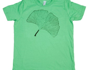 Grass Green Japanese Ginkgo Leaf Unisex Kids T-Shirt, Screen Printed, Botanical, Made in USA, Size 12 Children