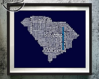 South Carolina Wall Art, South Carolina Typography Map Print, South Carolina Typography Art, Custom South Carolina Map, SC Unique Gift