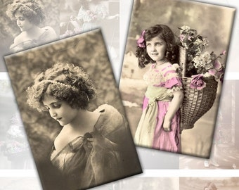 Victorian and edwardian Vintage children digital collage sheet 2x3 inches Vol. 2 (123) Buy 3 - get 1 free