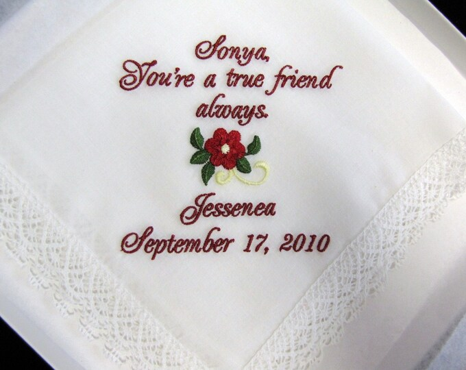 Personalized Friendship Wedding Handkerchief