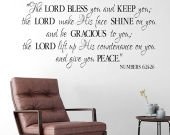 Numbers 6:24-26 - The Lord Bless you and Keep you-NASB - Benediction Blessing-  Religious Bible Verse wall vinyl NUM6V24-001