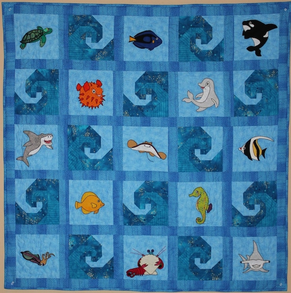 Ocean Animal Applique Pdf Baby Quilt Pattern Paper Pieced