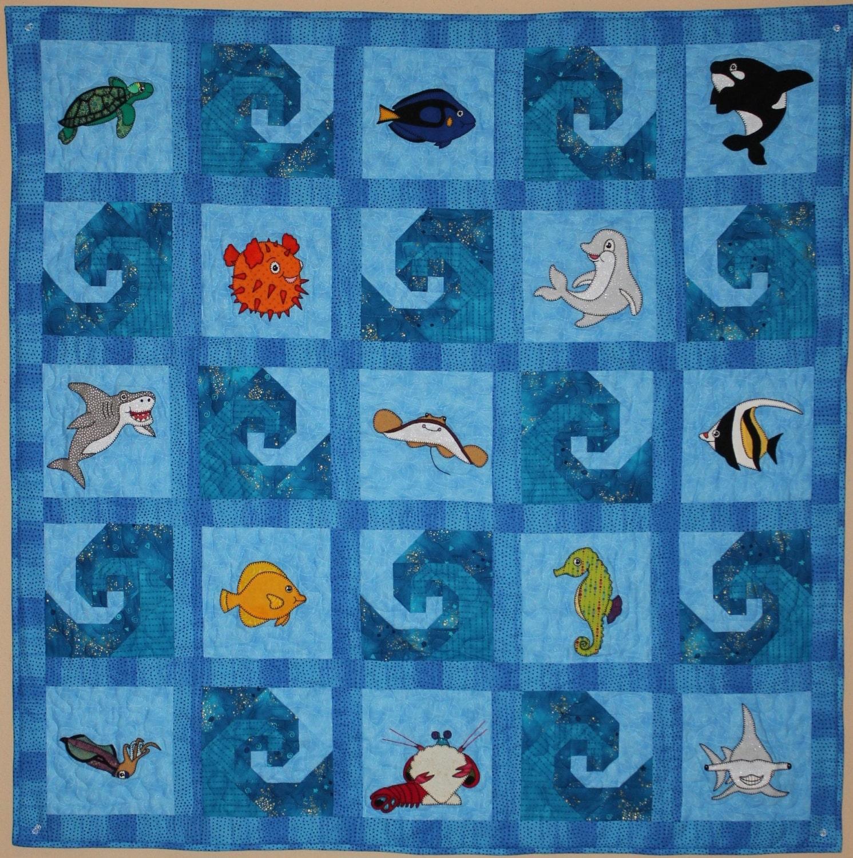 Ocean animal applique PDF baby quilt pattern paper pieced : nautical quilt blocks - Adamdwight.com