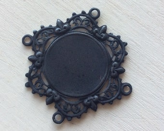 Blackened brass  Victorian ornate setting with 4 loops 1 pc