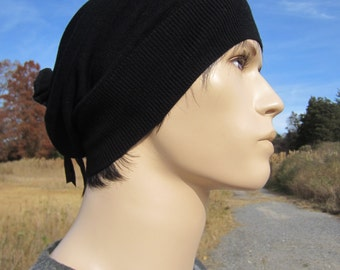 Mens Black Merino Wool Beanie Slouchy Knit Hat Tam Italian Leather Wrap Ties A1001