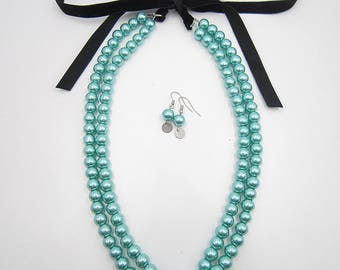 Turquoise Necklace,Pearl Necklace,Statement Necklace,Bridal Necklace,Bridesmaid Gifts,Bridal Jewelry Sets,Gift For Her,Wedding Gift Idea,
