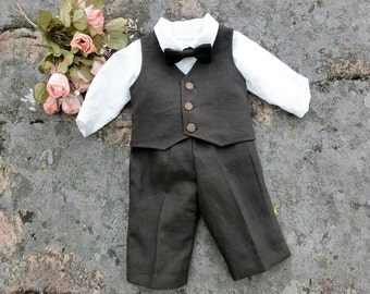Dark brown baby linen suit. Baby boy suit. Baby ring bearer outfit, . Baby boy first thanksgiving suit, baby shirt, pants, vest, bowtie