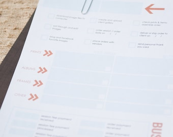 Essentials Worksheet for Client Flow for Photographers - Photoshop template download