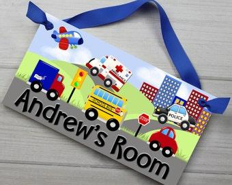 Lots of Vehicles Transportation Cars Trucks Boys Bedroom Baby Nursery Kids Bedroom DOOR SIGN Wall Art DS0052