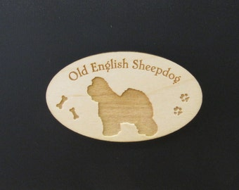 Original Design Old English Sheepdog Wood Magnet