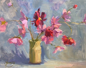 Mother's Day Gift Pink Cosmos flowers original oil painting 8x10 still life Impressionism floral art by Elo Wobig