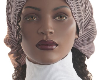 Dread Headband Scarf Headcovering Pink Black Dreadie Head Scarf Stripe Chiffon Prayer Haircovering